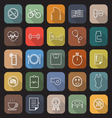 Wellness line flat icons with long shadow vector image vector image