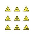 yellow warning hazard attention signs set vector image vector image