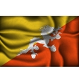 crumpled flag of Bhutan on a light background vector image