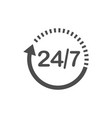 24 hours 7 days icon time clock icon vector image