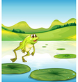 A pond with a frog jumping vector image vector image