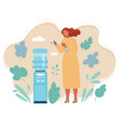 a woman standing near water cooler office life vector image vector image