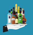 alcohol drinks collection in tray of waiter vector image