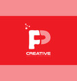 alphabet letter p red technology white logo vector image