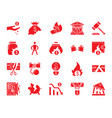 bankruptcy red silhouette icons set vector image
