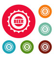 beer cap icons circle set vector image