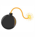 black cartoon bomb isolated on a white background vector image