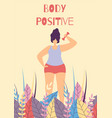 body positive active fitness woman flat banner vector image vector image