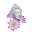 buddha face with pink lotus flower print vector image vector image