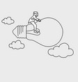 businessman with helmet riding on flying lamp vector image