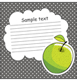 Card with green apple and message cloud vector image