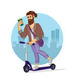 cartoon color character person hipster riding a vector image vector image
