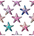 Exotic starfishes colorful seamless pattern vector image vector image