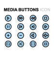 flat media buttons icons set vector image vector image