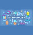future tech banner horizontal cartoon style vector image