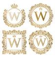 golden letter w vintage monograms set heraldic vector image vector image