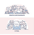 graphs and diagrams and email banner template vector image