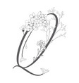 hand drawn floral q monogram and logo vector image vector image