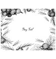 hand drawn frame of ripe jostaberries and juniper vector image vector image