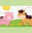 horse chickens and piggy meadow farm animals vector image vector image