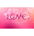 inscription love pink ribbon vector image vector image