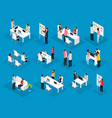 isometric people teamwork set vector image