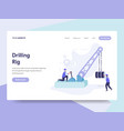 landing page template of drilling rig concept vector image
