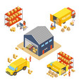 logistics and delivery isometric concept set with vector image