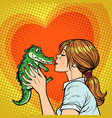 mom kisses crocodile naughty baby concept vector image vector image