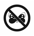 No butterfly sign icon simple style vector image vector image