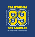 number 89 california los angeles - typography vector image