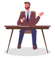office worker at table with pen in hand vector image vector image