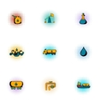 Oil production icons set pop-art style vector image vector image