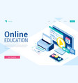 online education isometric landing distant courses vector image vector image