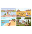 people resting on nature at seaside forest river vector image