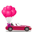 pink modern opened cartoon cabriolet car with vector image vector image