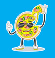 pizza character with glasses holding a piece of vector image