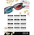 realistic cinema 2019 year calendar template vector image