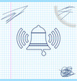 ringing bell line sketch icon isolated on white vector image