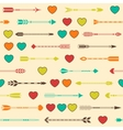 Seamless pattern with Indian arrows and hearts in vector image vector image