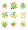 set colorful fireworks on white background vector image