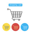 shopping cart flat line icon vector image vector image