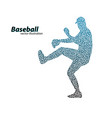 silhouette of a baseball player from triangle vector image vector image