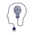silhouette of head with brainbulb and gears vector image