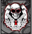 skull bandit handling gun hand drawing vector image vector image