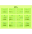 Stylized flat design The 2014 Year calendar vector image vector image