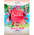summer cocktail party poster design cocktail menu vector image vector image