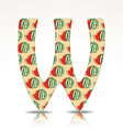 The letter W of the alphabet made of Watermelon vector image