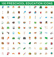 100 preschool education icons set cartoon style vector image vector image