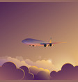 airplane in sunset sunrise sky vector image vector image